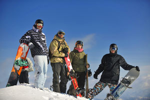 Ski and Snowboarders in the Blue Ridge Mountains
